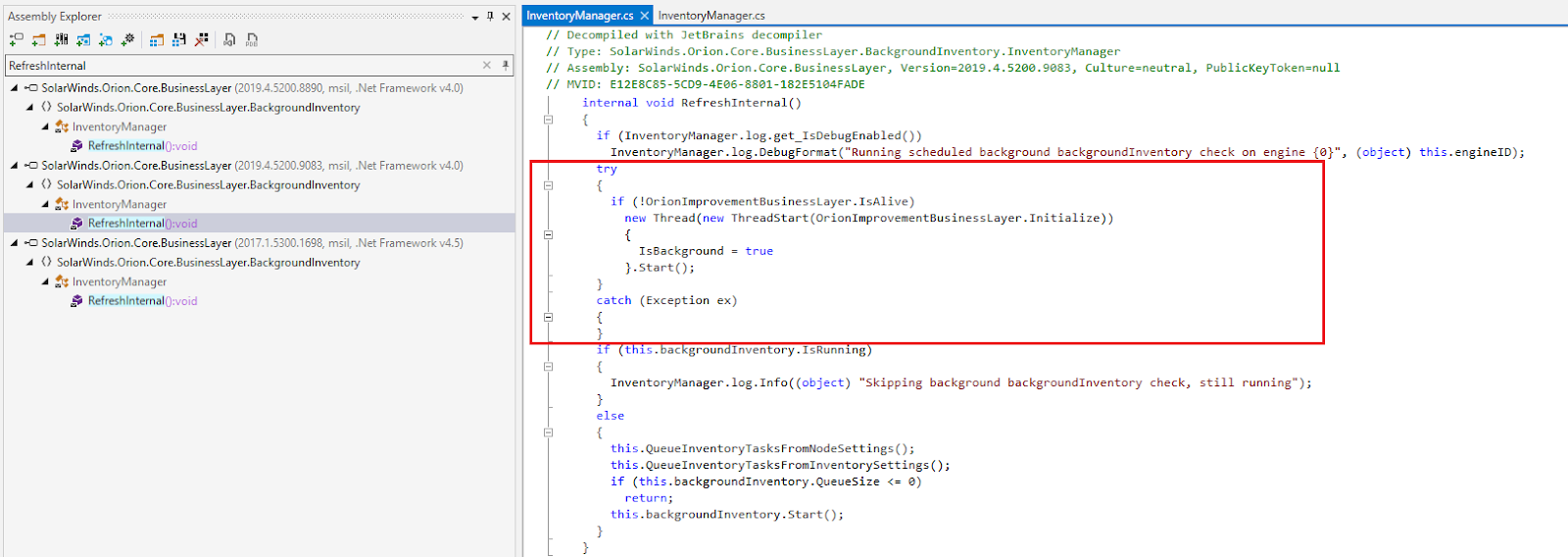 RefreshInternal in the backdoored library [ver. 2019.4.5200.9083]